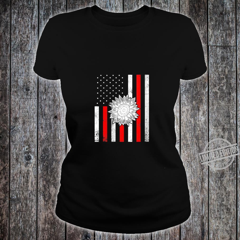 Womens American Flag Sunflower Firefighter Profession Fireman Shirt ladies tee