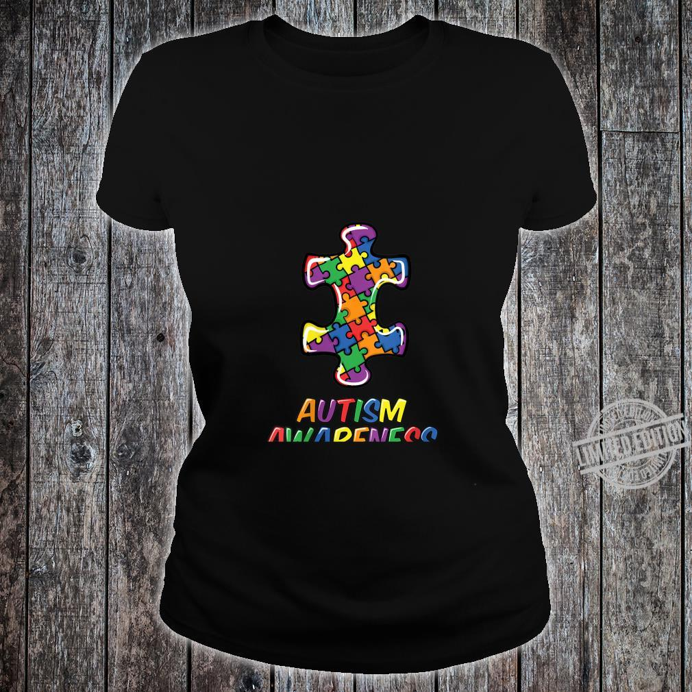 Womens Autism Awareness Puzzle Proud Support Month Shirt ladies tee