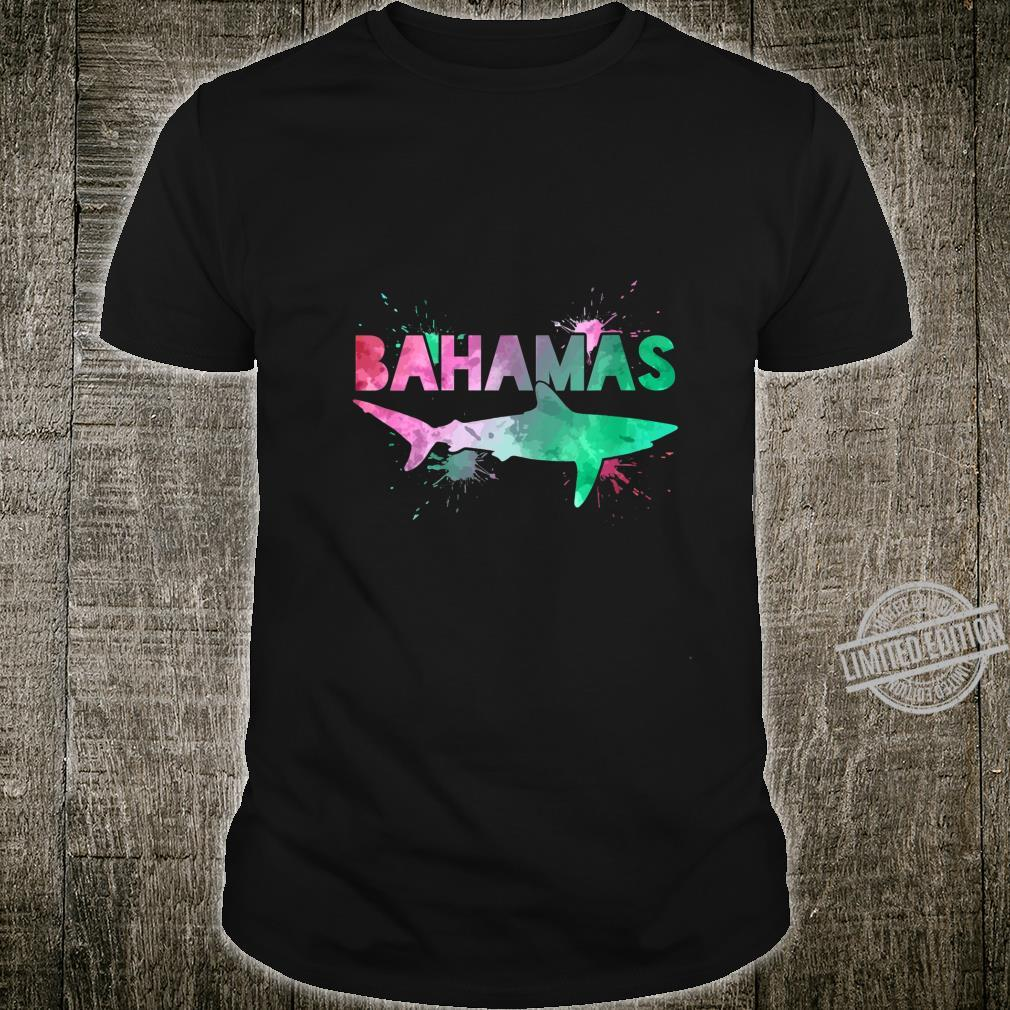 Womens Bahamas Shark Scuba Diving Watercolor Art Souvenir Shirt