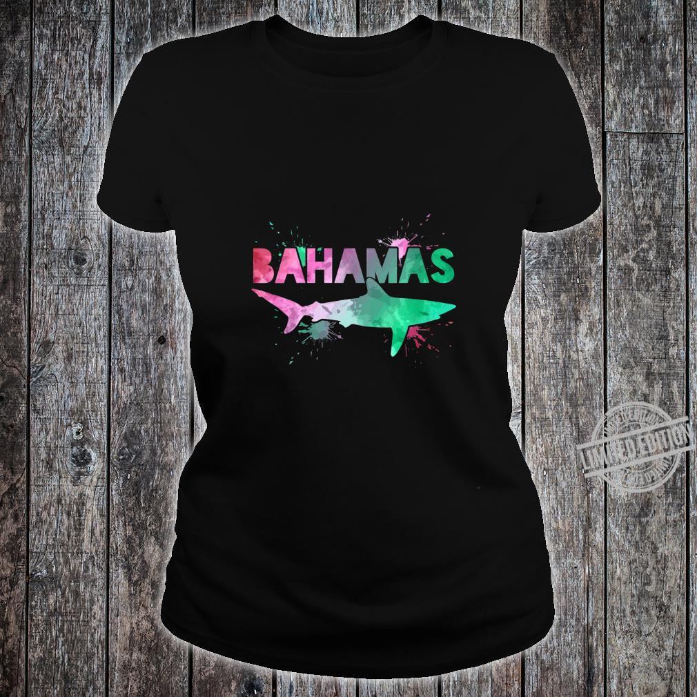 Womens Bahamas Shark Scuba Diving Watercolor Art Souvenir Shirt ladies tee