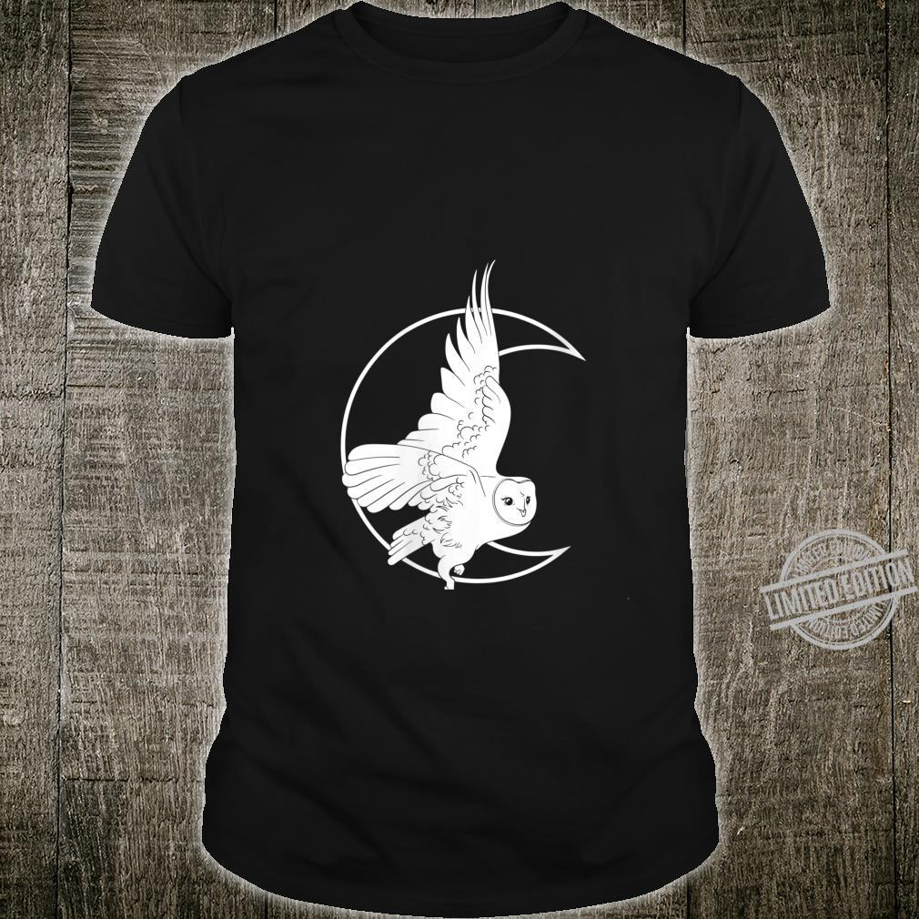 Womens Barn Owl Moon Witch Pastel Goth Wicca Wiccan Witchcraft Shirt