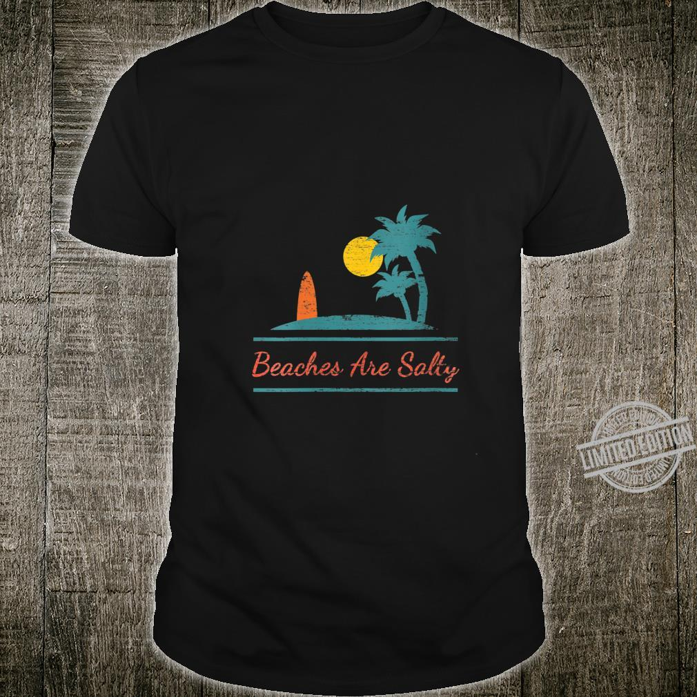 Womens Beaches Be Salty Hilarious Distressed Palm Trees, Surf Board Shirt