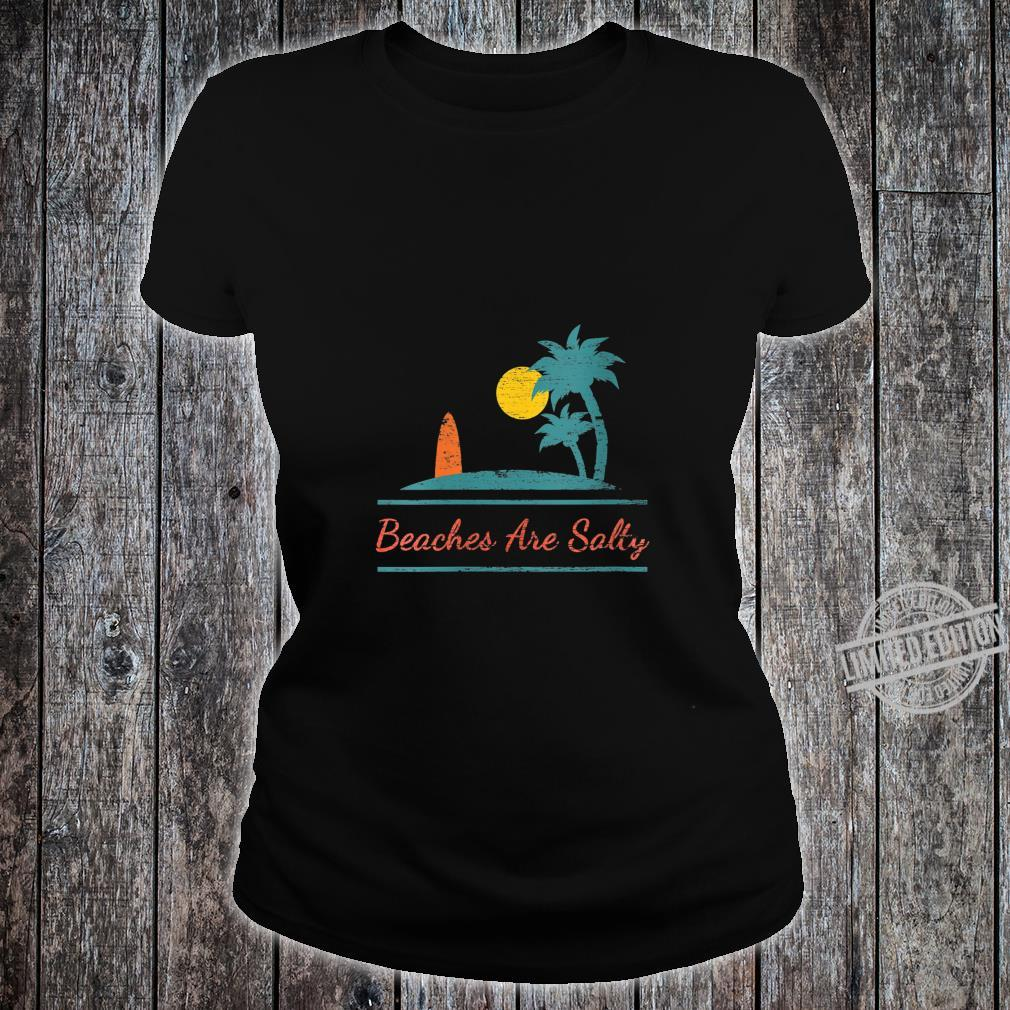 Womens Beaches Be Salty Hilarious Distressed Palm Trees, Surf Board Shirt ladies tee
