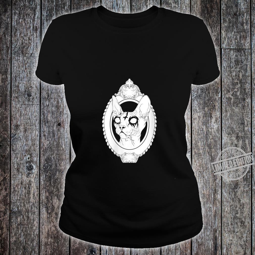 Womens Black Metal Sphynx Cat Gothic Pastel Goth Death Metal Shirt ladies tee