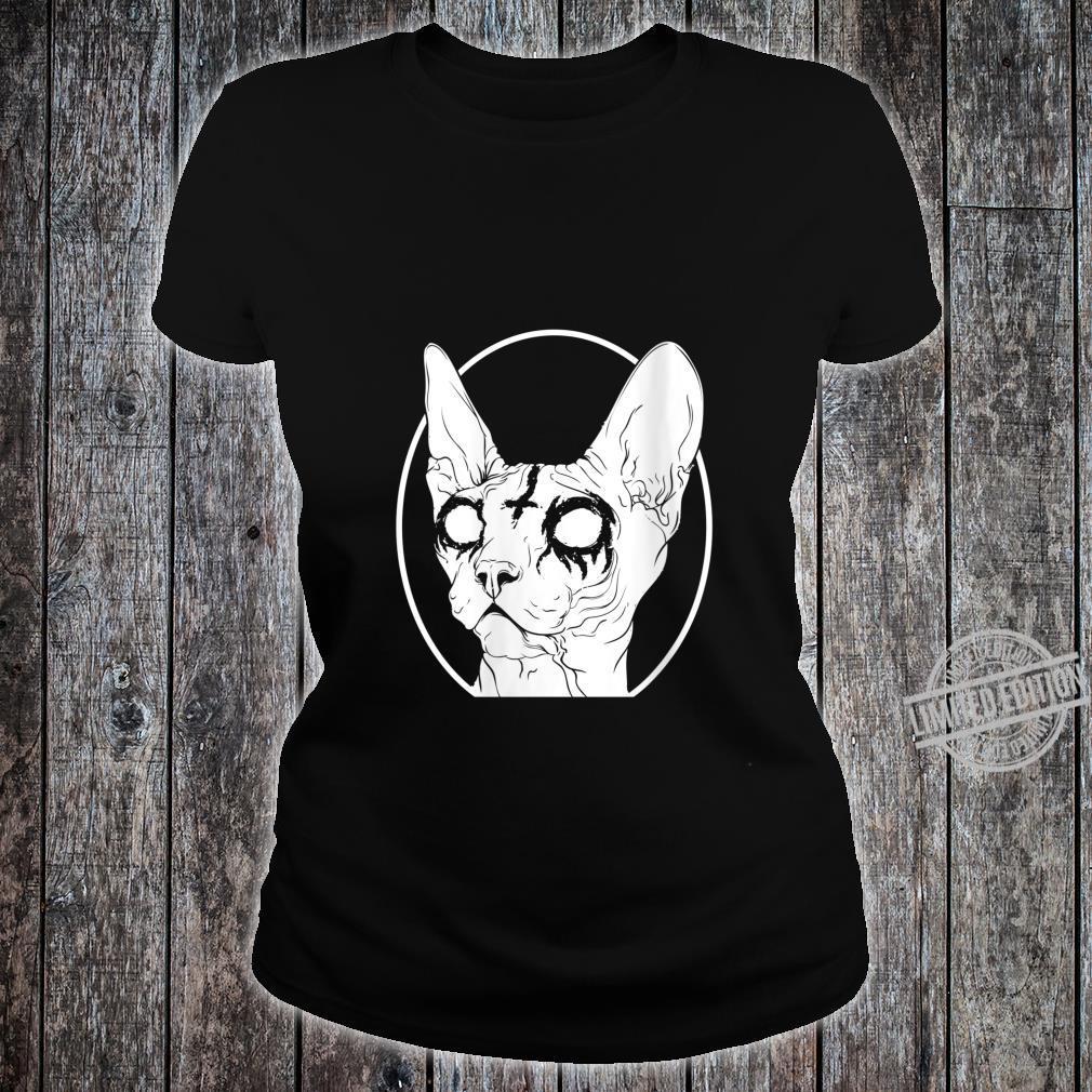 Womens Black Metal Sphynx Cat Pastel Goth and Death Metal Shirt ladies tee