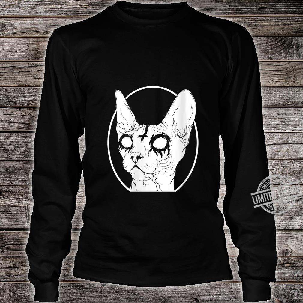 Womens Black Metal Sphynx Cat Pastel Goth and Death Metal Shirt long sleeved